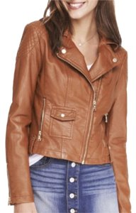 Express Faux Leather Moto Biker Cognac Motorcycle Jacket