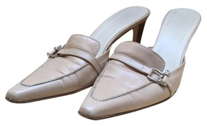 Burberry Silver Hardware Leather beige Mules
