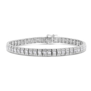 Other 2.00 Ct. Natural Diamond Etched Tennis Bracelet In Solid 14k White