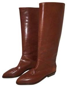 Joan & David Classic Leather Vintage Italian Couture Mahogany Boots