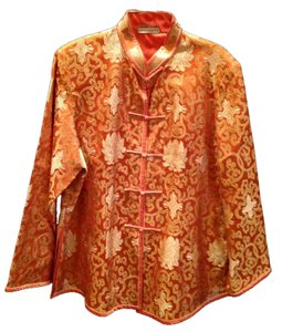 Asian Finds New Chinese Jacket Top Orange and Gold