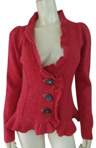 Cartonnier Wool Ruffle Fitted Bogo Fuzzy Red Heather Blazer
