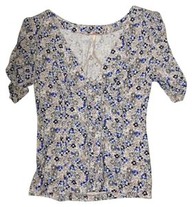 Free People Top Tan, white, blue, dark blue and green