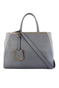 Fendi Leather Medium Tote Satchel in Grey