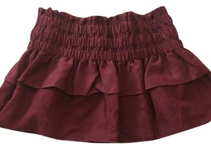 Étoile Isabel Marant Wine Ruffle Mini Skirt dark red