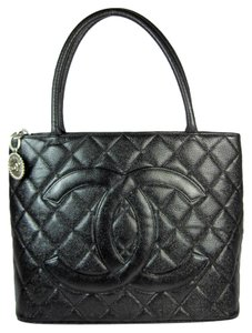 Chanel Black Leather Cc Medallion Caviar Tote