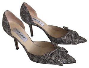 Jimmy Choo Silver with brown lace motif. Formal