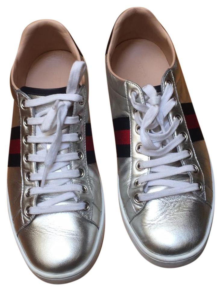 3eab402d0c74 Gucci Silver Ace Metallic Leather Low Top Sneaker Sneakers Size US ...