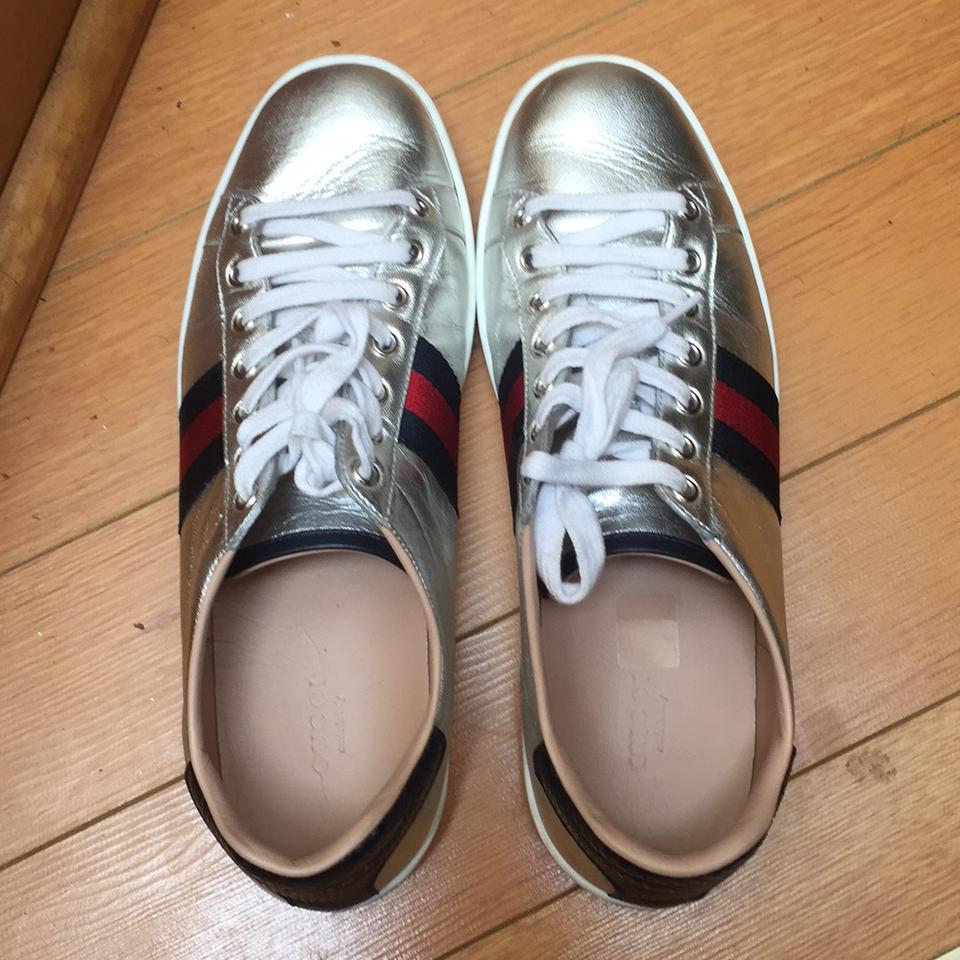 bf1447aa1a36 Gucci Silver Ace Metallic Leather Low Top Sneaker Sneakers Size US 9.5  Regular (M