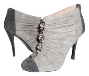 Chanel Camellia Ruched Flower Grey Boots