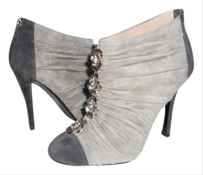 Item - Grey Two Tone Suede Ruched Camellia Flower Ankle Boots/Booties Size EU 37 (Approx. US 7) Regular (M, B)