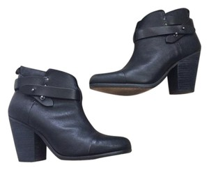 Rag & Bone Leather Classic Buckle Ankle Black Boots