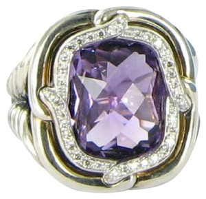David Yurman David Yurman Labyrinth Amethyst Diamond 0.18cts Sterling Ring Sz 6