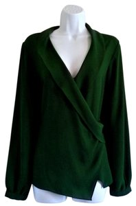 Rose & Olive Wrap Long Sleeves Wrapped Top Green