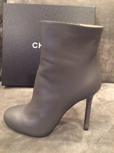 Chanel Cc White Grey Boots
