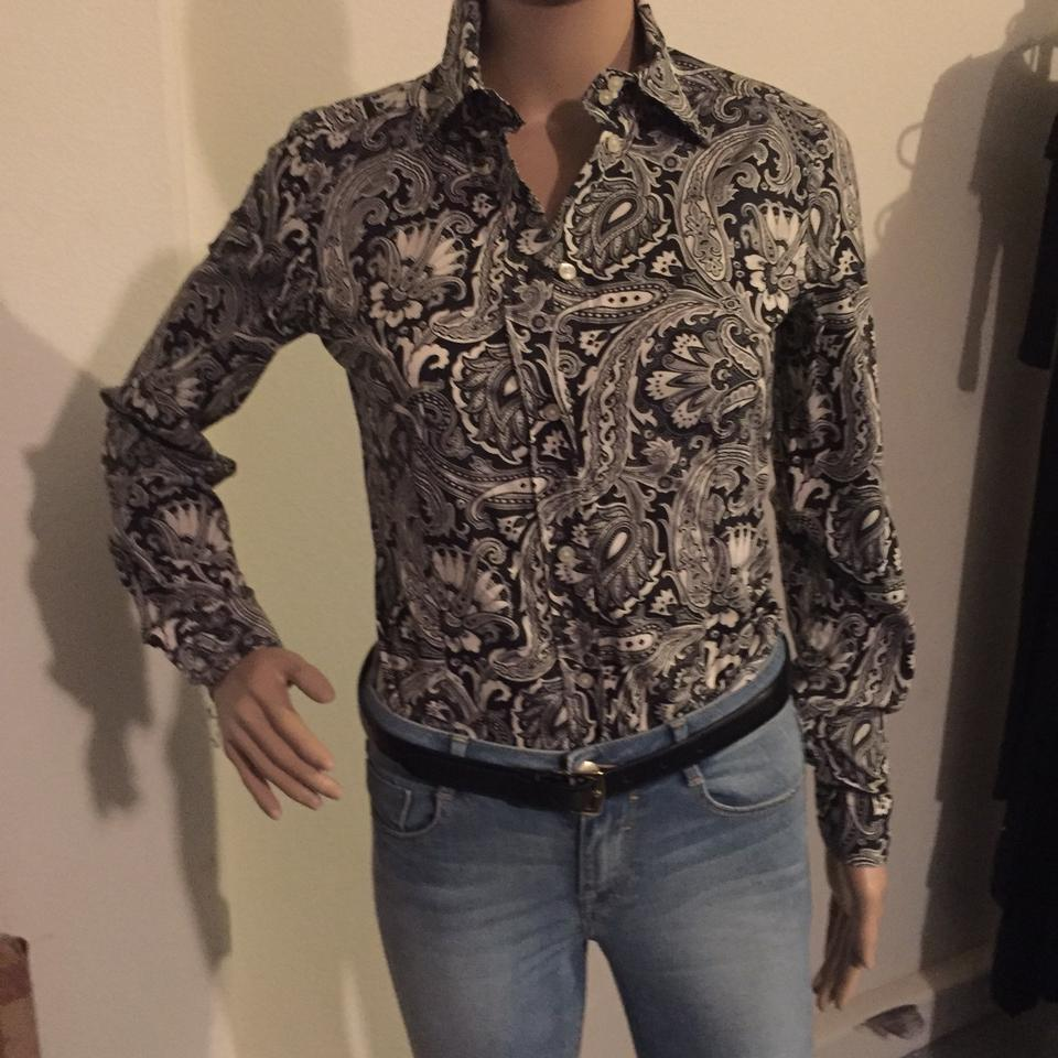 4c52ffc820f Etro Black Floral Print Cotton Fitted Shirt Button-down Top Size 0 ...