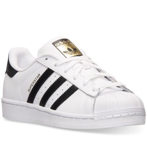 Adidas Superstar White Leather w/Black & Gold Athletic