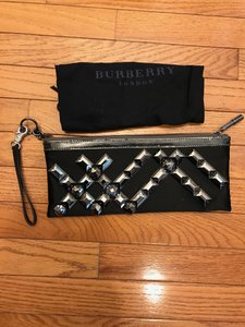 Burberry Gunmetal Studs Maroon Dust Black Clutch