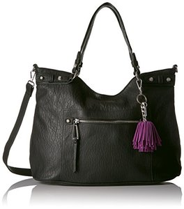 Jessica Simpson Leather Miley Tote in BLACK