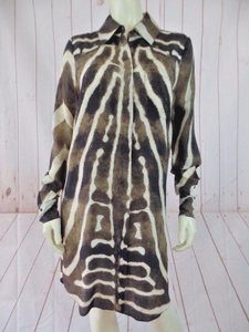Haute Hippie Silk Animal Sheer Long New Top Brown, Tan, Cream