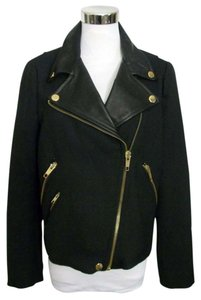 Zara Motocycle Leather Wool Blend Hipster Black Jacket