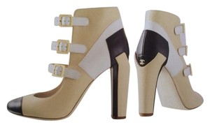 Chanel Colorblock Three Tone Black, Beige, Cream Boots