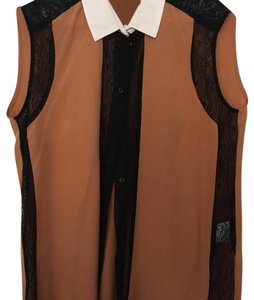 Sandro Top Burnt umber with white collar and black lace