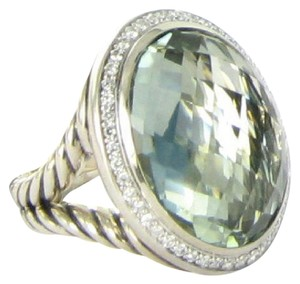 David Yurman David Yurman Signature Oval Ring Prasiolite Diamond 0.39cts Sterling S