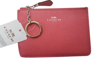 Coach NEW COACH Leather card Case holder Key chain coins pouch Pink