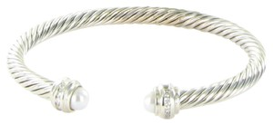 David Yurman Bracelet 5mm Cable Classics 0.19cts Diamonds Pearls Sterling Silver