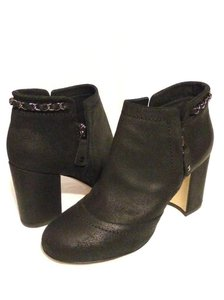Chanel Cc Waxed Chain Glitter Waxed Leather Black Boots