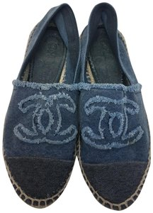 Chanel Interlocking Cc Embellished Round Toe Espadrille Embroidered Blue, Black Flats