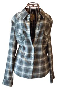 French Connection Flannel Plaid Button Down Shirt Gray Plaid