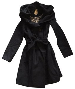 Elevenses Anthropologie Wool Belted Blue Shawl Trench Coat