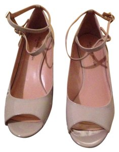 julianna hough Patent Leather Tan Neutral 2 Straps Each beige Wedges