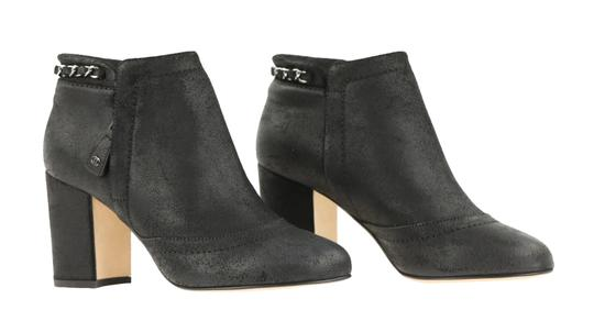 Chanel Cc Waxed Chain Glitter Waxed Leather Black Boots Image 1
