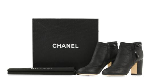 Chanel Cc Waxed Chain Glitter Waxed Leather Black Boots Image 11