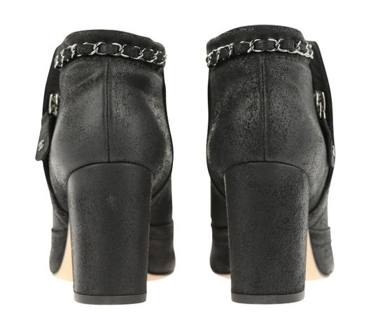 Chanel Cc Waxed Chain Glitter Waxed Leather Black Boots Image 2