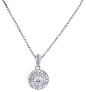Other Diamond Solitaire Pendant 10k White Gold Necklace with Chain .50 Ct.