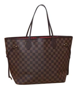 8d6065aa4ba Louis Vuitton Lv Never Full Mm Tote in Damier Ebene w  Cherry textile lining