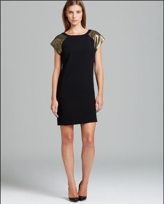 Trina Turk Individualist Leather Embellishedsleeves Dress