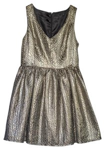 Kensie Foil V-neck Sleeveless A-line Dress