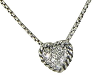 David Yurman Chatelaine Pave Diamond 0.11cts Heart Pendant Necklace Sterling Silver