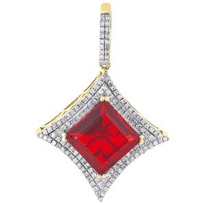Other 10K Yellow Gold Diamond & Red Gemstone Pendant 1.39