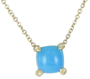 David Yurman Chatelaine Turquoise Diamond 7mm Pendant Necklace 18K Gold