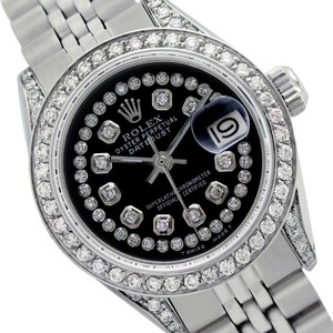 Rolex Rolex Ladies datejust 6917 Black String Dial Genuine Diamonds Watch