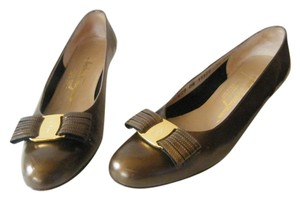 Salvatore Ferragamo Patent Leather Bow Signature Buckle Metallic bronze Flats