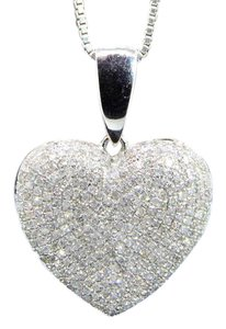 Other Diamond Heart Pendant 10k White Gold 1.10 Ct Domed Charm With Chain