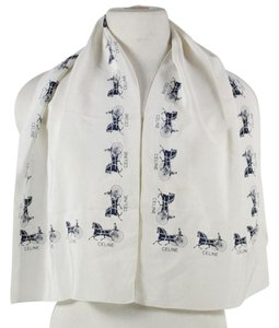 Céline Italian Silk Scarf In Cream With Blue Horse Patterned Edge