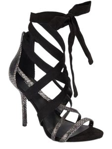 Nine West Snakeskin Leather Strappy Crisscross Strap Black/Silver Sandals